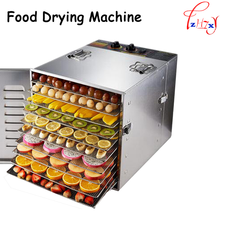 Household 10 Tray 304 stainless steel food drying machine Fruits and vegetables drying machine Pet food dryer 110/220V household fruits vegetables herbs and pet snacks automatic timed mini dehydration air dried machine 4 floors
