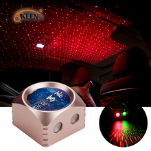 OKEEN 2019 New Year Decoration Gift Car LED Light USB Red Green Star Sky Light Projector Car Atmosphere Lamp Interior Light 12V