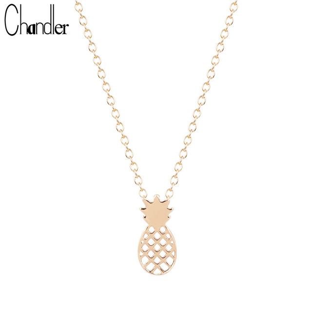 Chandler New Gold Silver Plated Tiny Pineapple Pendant Necklaces Fruit Coliers For Women Gifts Accessaries Collar Colar de Plata