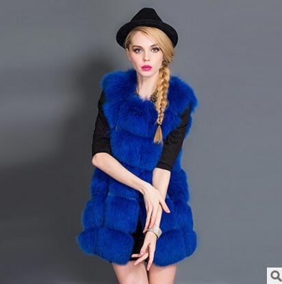Новое поступление, зимний теплый модный длинный женский жилет из искусственного меха, пальто из искусственного меха, жилет из лисьего меха, женский жилет, большие размеры, S-4XL - Цвет: Sapphire blue