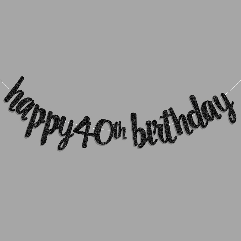 GoldBlackSilver Glitter Happy 40th Birthday Banner Fourty