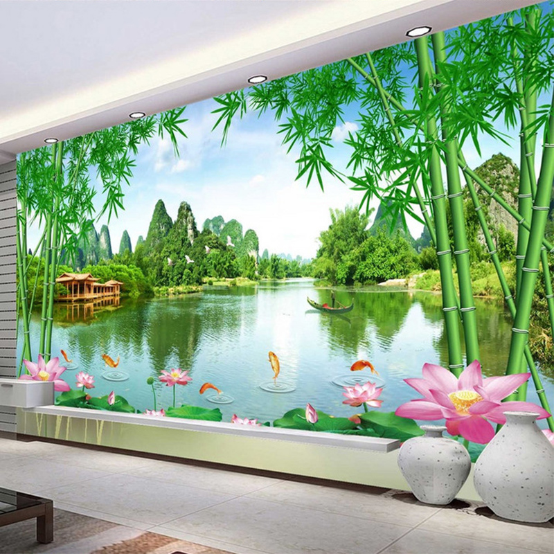 Custom Photo Wallpaper 3D Bamboo Lotus Nature Landscape Murals Living Room TV Sofa Backdrop Wall Decor Papel De Parede 3 D Sala