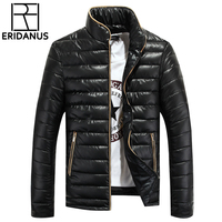 2016 Winter New Arrival Men Solid Cotton Blend Coat Korean Slim Man Stand Collar Thick Padded