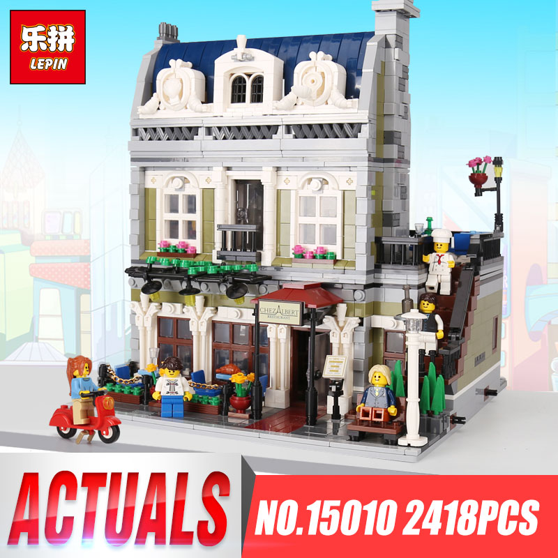 Lepin 15010 Expert City Street Parisian Restaurant Model Compatible legoing 10243 Building Kits Blocks Birthday Children Toys a toy a dream lepin 15008 2462pcs city street creator green grocer model building kits blocks bricks compatible 10185
