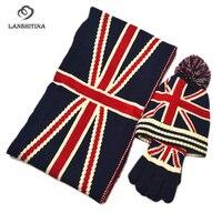 ผู้ชายผู้หญิงเด็กฤดูหนาวถักหมวกถุงมือผ้าพันคอตั้งแฟชั่นธงสหรัฐอเมริกาแบบอะคริลิสามชิ้...
