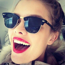Men Women UV Protect Rays Rivet Classic Half Rims Frame Mirror Fashion Sunglasses Sun Glasses Male Female Shades Vintage Small