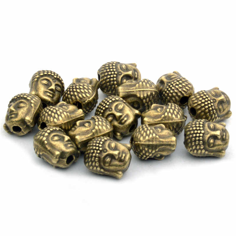 10mm 10Pcs/lot Vintage Bronze/Gold/Silver Buddha Head Bead Tibetan Silver Spacer Beads for Bracelet Jewelry Making