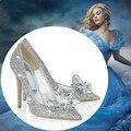 2017 zapatilla de cristal de Cenicienta con dinero fina de cuero con rhinestone lentejuelas señaló zapatos de tacón alto de cristal zapatos de la boda de dama de honor