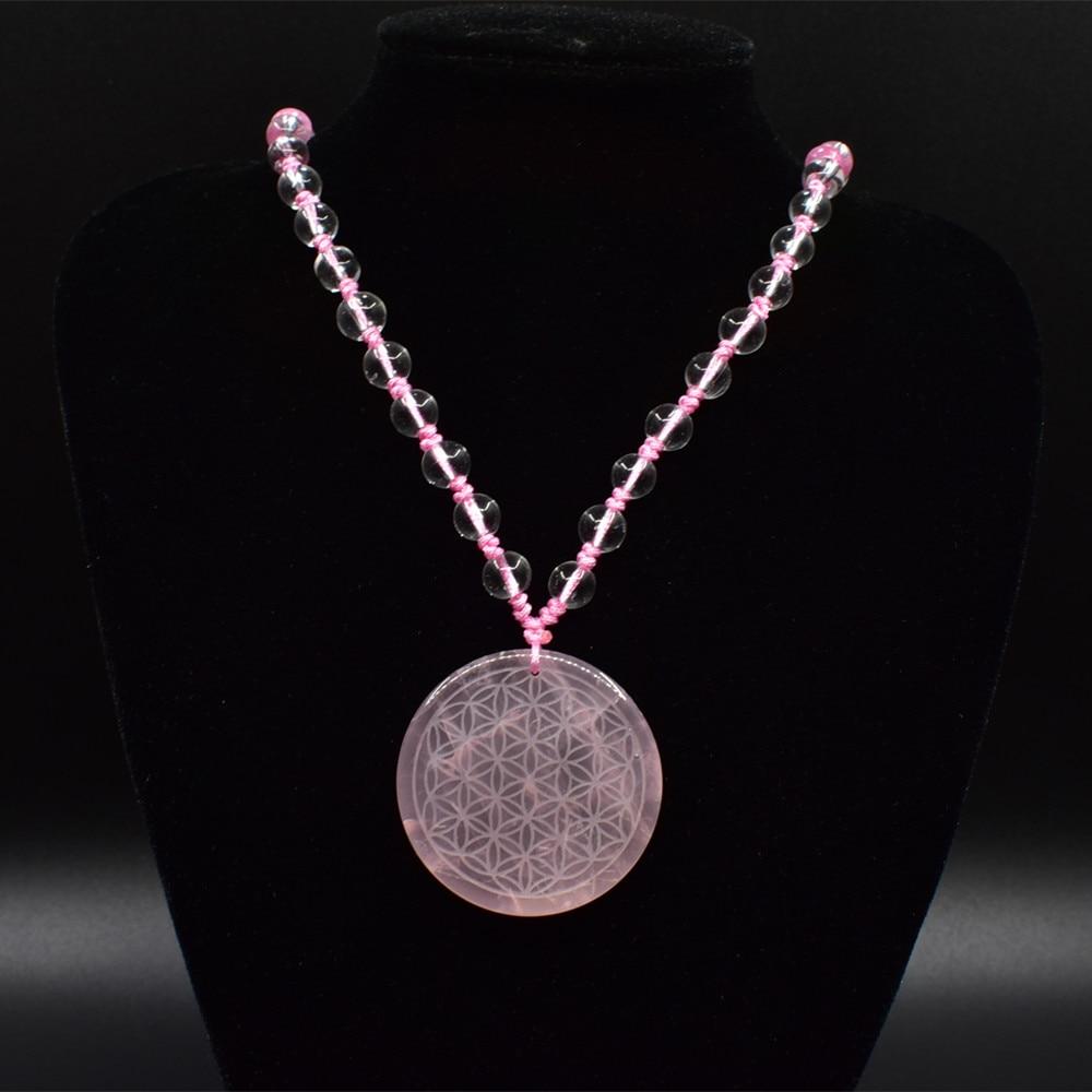 35mm High quality natural stone quartz crystal pendant flower of life pendulum pendants chakra pendule suspension healing ...