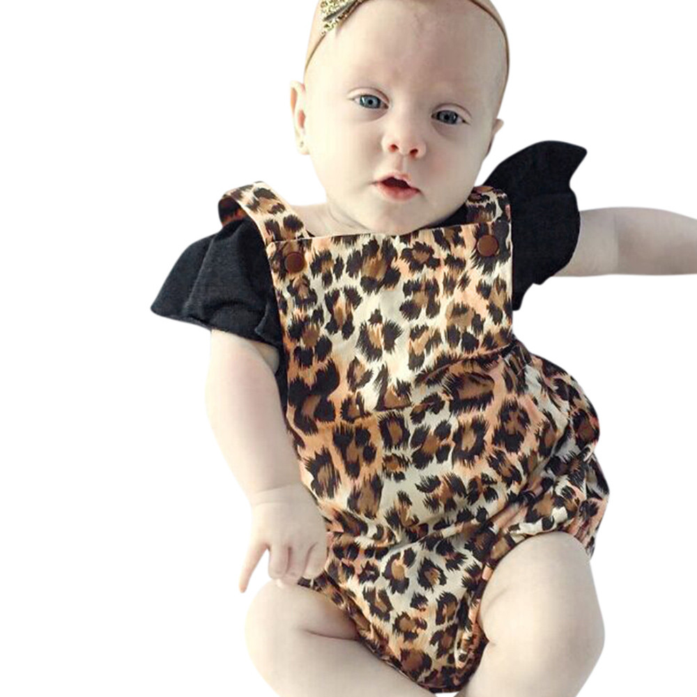 New Summer Baby Girls Romper 2Pcs Baby Girls Infant Leopard Toddler Jumpsuit Romper Set Clothes dropshipping summer baby girls romper