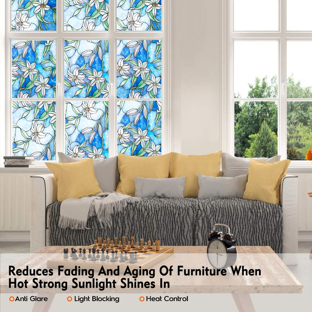 Funlife 90x200cm Self adhesive Window Privacy Film Stained Glass Window Film Static Frosted Decorative Anti UV Window Stick in Decorative Films from Home Garden