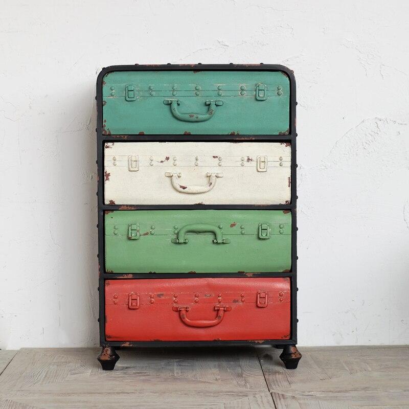 Dorf Retro Eisen Metall Farbe Schrank Schubladenschrank Locker Stand - Home Storage und Organisation