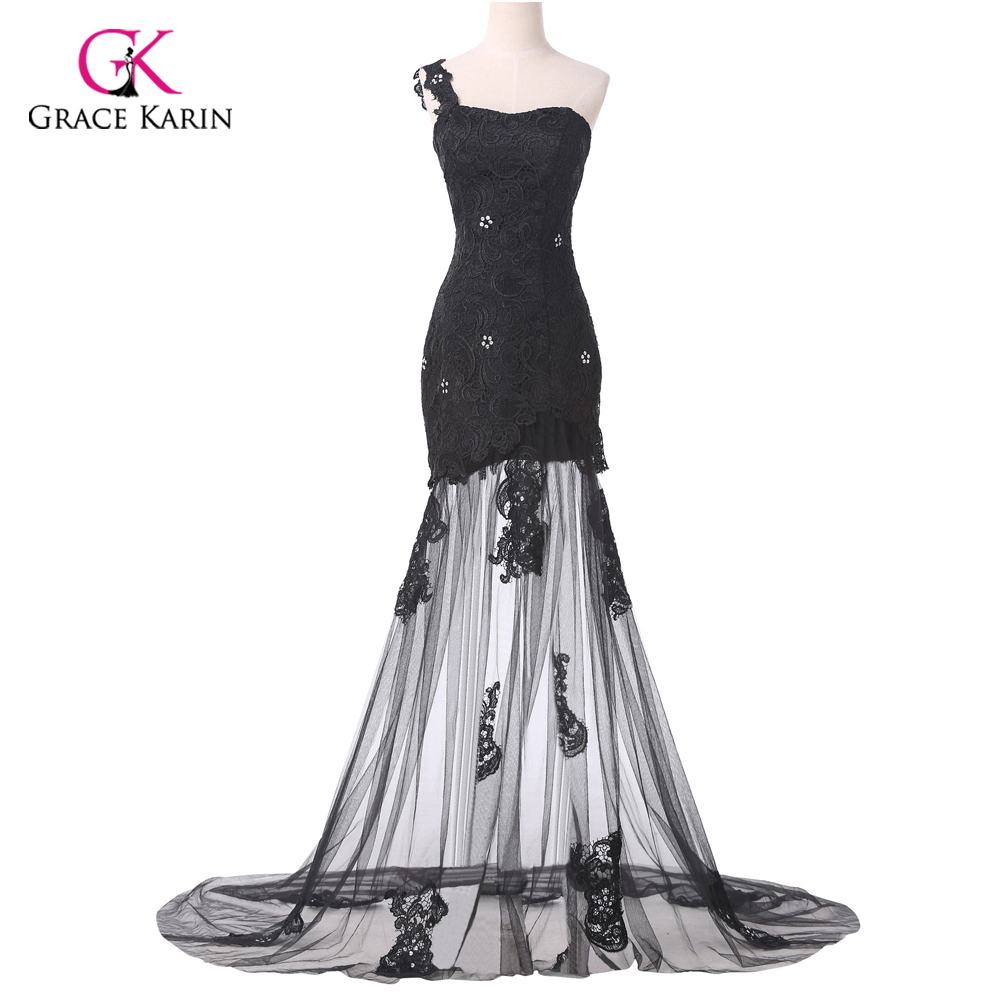 Sexy Lace Applique Black One Shoulder Long Prom Dress Floor Length Masquerade Party Formal Evening Gowns Vestidos 6100 In Dresses From Weddings