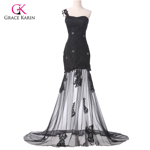 Sexy Lace Applique Black One Shoulder Long Prom Dress Floor Length Masquerade Party Formal Evening Gowns