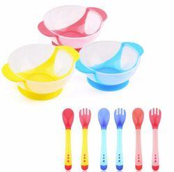 Лидер продаж 1 комплект/3 шт. Детская Ложка чаша обучающая посуда с присоской помощь еда чаша температура зондирования ложка детская посуда