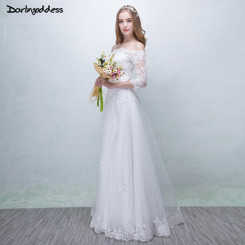 Simple Elegant Wedding Dress With Sleeves Woman And More: Robe De Mariage White Vintage Lace Wedding Dresses