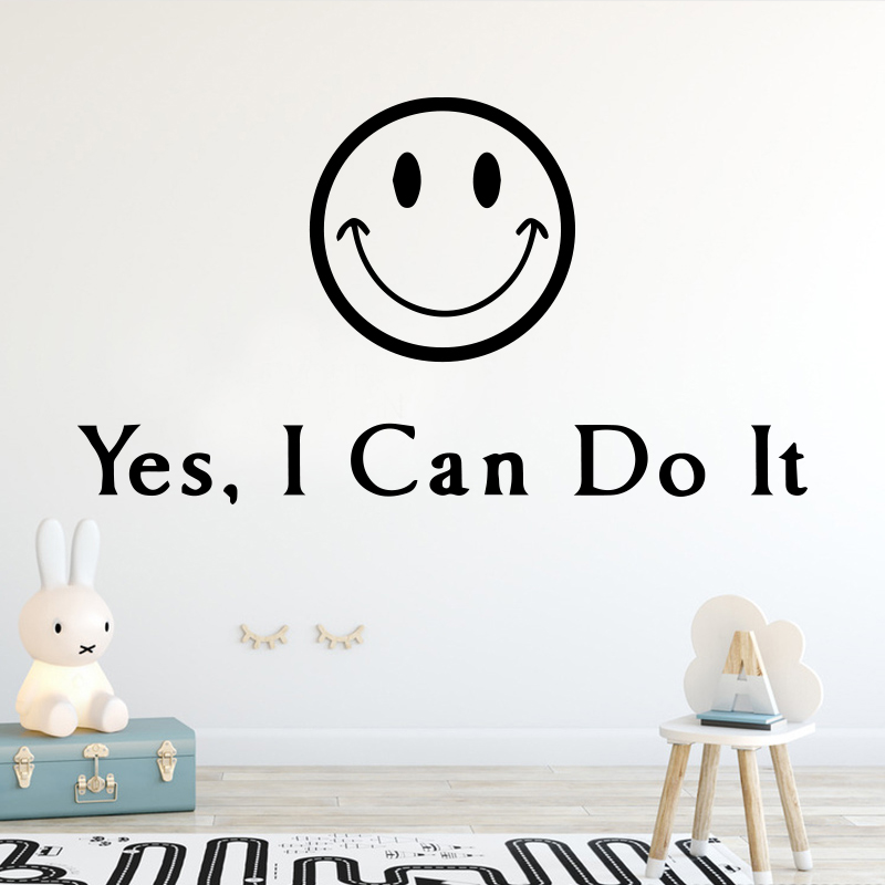 Classic Smiley Face Wall Sticker Motivational Sentence Stickers Bedroom Decor Wall Decal Removable Home Decoration Wallpaper