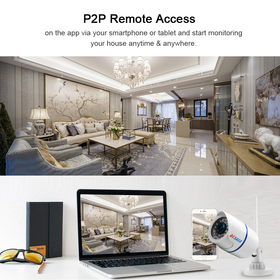 Image 4 - BESDER Audio 720P 1080P Wifi Ip CCTV Outdoor Camera Surveillance White Waterptoof Onvif Wireless Camera With SD Card Slot CamHi-in Surveillance Cameras from Security & Protection
