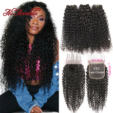 Kinky Curly 3 Bundles With Closure Malaysian Human Hair Weave Bundles with Lace Closure Free Part 5*5 Swiss Lace 4 Pieces/Lot(China)