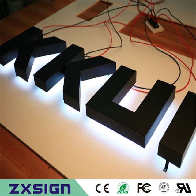 Factory Outlet Stainless steel LED Back lit signage, halo lit metal led channel letterings, illuminated led name signs