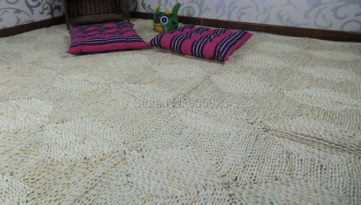 Rustic Straw Rug Braid Two Color Mat Corn Husk Handmade Pad Knitted Carpets 0556 Straws Carpet