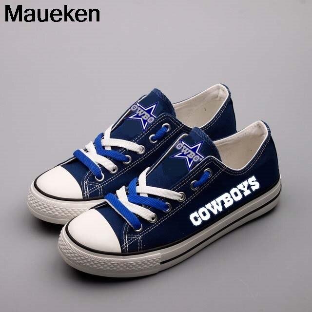 Hot 2018 2019 men women unisex dallas blue fashion diy Shoes for cowboys fans gift size 35-44 0506-7