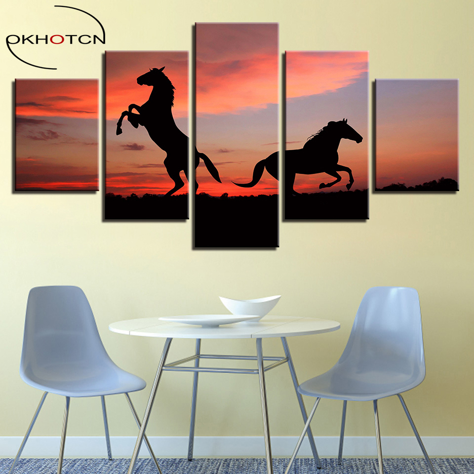 OKHOTCN Framed Canvas Wall Art Home Decor HD Prints 5 Pieces Animals Horses Sunset Landscape Paintings Sturdy Steeds Posters