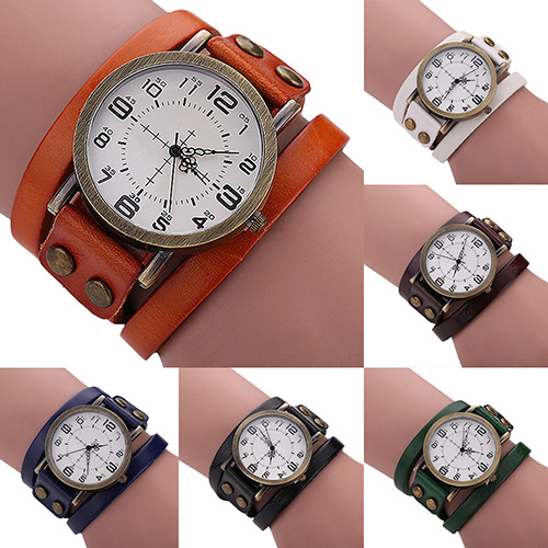 Design  S Unisex Retro Style Multi-Layers Leather Strap Bangle  Bracelet Wrist Watch