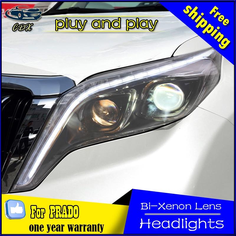 Car Styling Head Lamp for Toyota Prado Headlights New Prado LED Headlight DRL Daytime Running Light Bi-Xenon HID Accessories car styling headlights for toyota rav4 led headlight 2013 2015 for rav4 head lamp led daytime running light q5 lens bi xenon hid