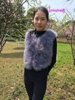 Short Ostrich Feather Trim Jacket Coat Sleeveless Vest Free Size Grey Black Gilet Ostrich Fur Coats Feathers Bulk