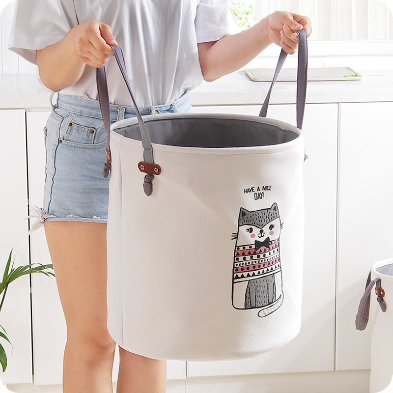High grade Cartoon Folding Canvas Dirty Clothes Basket Children Toy Storage Bucket Bedquilt And Magazines Storage Box Organizer