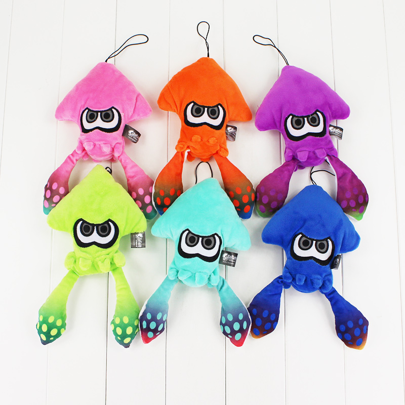 6 Colors 25cm Splatoon Inklings Squid Plush Toys Squid Inkling Stuffed Pendant Doll for Children 11 pieces splatoon 2 full set nfc card neon purple inkling squid boy and girl sisters callie and marie for switch ns