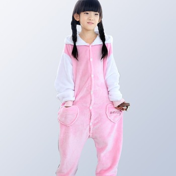 442a2d566 Pijamas para niños niñas Hello Kitty pijamas niños franela bebé niño niña  caliente dibujos animados Onesie ropa de dormir para 4 12 años