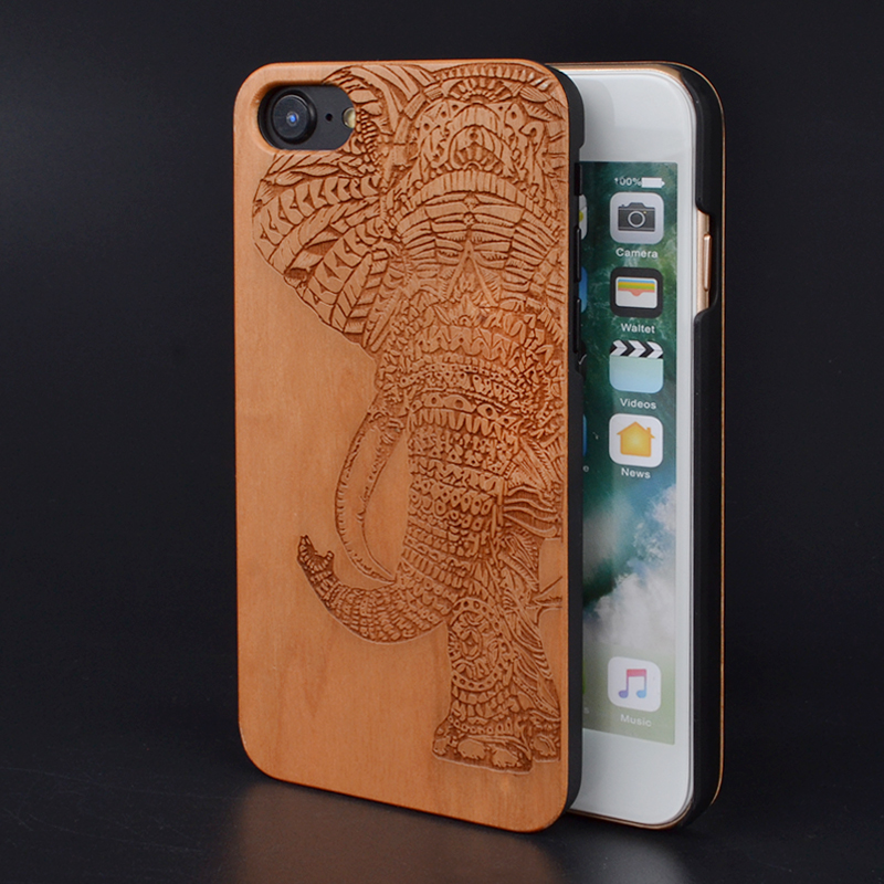 elephant customized name carved natural real wood phone cases for