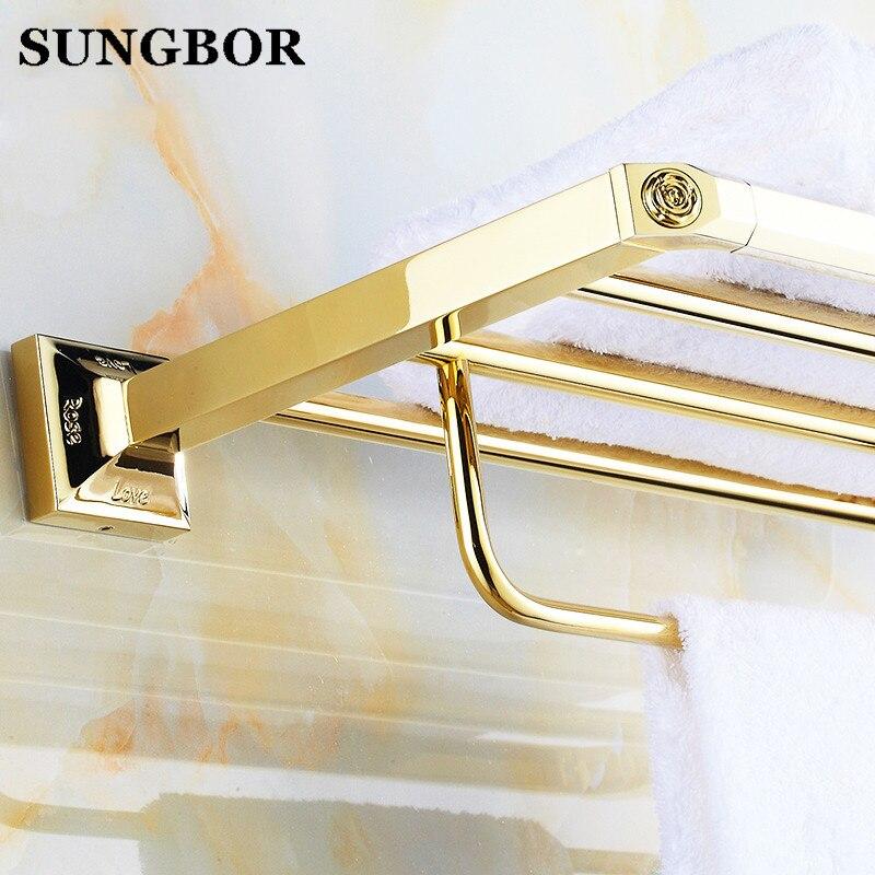 Solid Brass Vintage Style Bathroom Towel Rack Golden Towel Shelf Holder Carved Pattern Wall-mount BJ-82912 стоимость