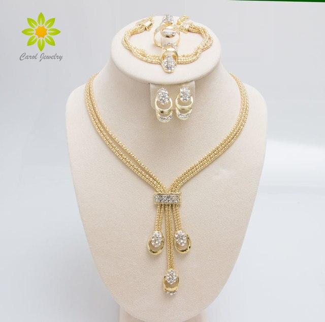 משלוח חינם האחרון אופנה טרנדי תכשיטי סט לנשים זהב/כסף מצופה חרוזים צווארון שרשרת עגילי צמיד טבעות סטים