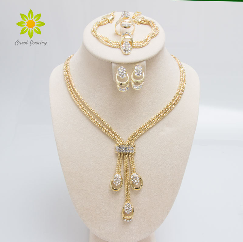 Free Shipping Latest Fashion Trendy Jewelry Set For Women Gold/Silver Plated Beads Collar Necklace Earrings Bracelet Rings Sets