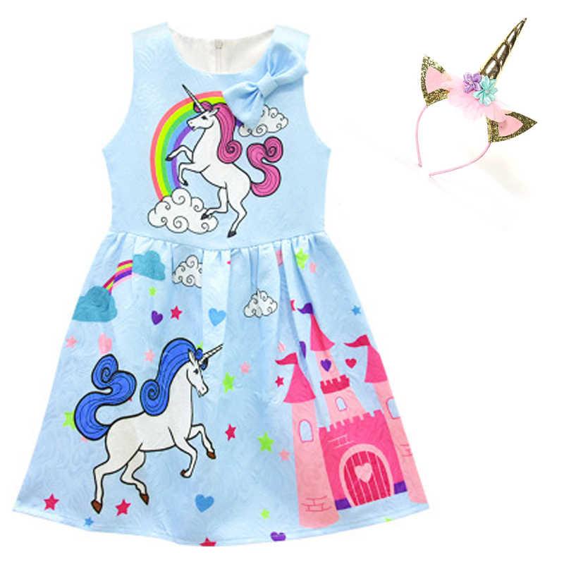 Unicornio bebé niña vestido de la ropa de los niños vestido de fiesta arco ropa niños princesa vestido unicornio diadema