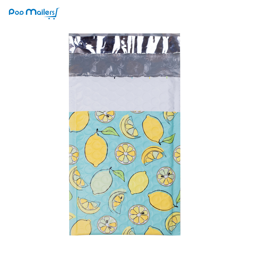 #000 120x180 Mm/4x7 Inch 10pcs Lemon Designer Poly Bubble Mailers Padded Envelopes Boutique Custom Bags
