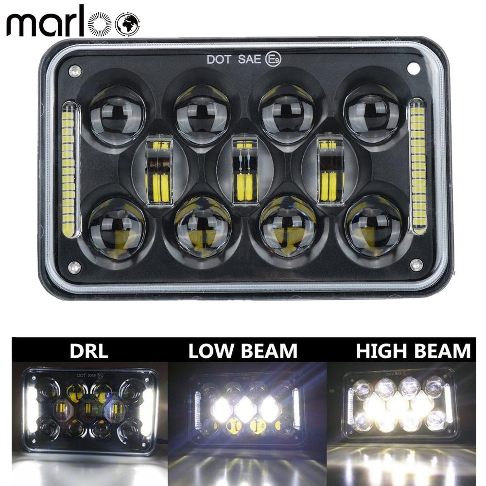 Marloo 1pcs DOT Black Motorcycle DRL font b Lamp b font 4X6 LED Headlight For Honda