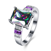 SWATER New Fashion Brilliant Rainbow Square Zircon Rings Vintage Jewelry White Gold Color Crystal Rings For Women Men Bijoux
