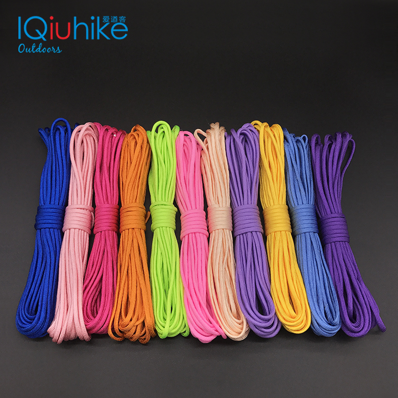 IQiuhike 250 Colors Paracord 550 Rope Type III 7 Stand 100FT 50FT Paracord Parachute Cord Rope Survival Kit Wholesale