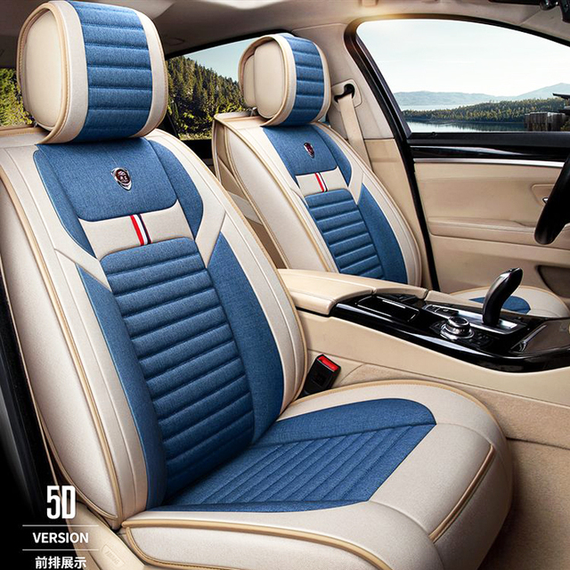 Flax car seat cover Fully encircled leather linen four season mat car seat cushion  95% 5 seat car can use car Seat covers