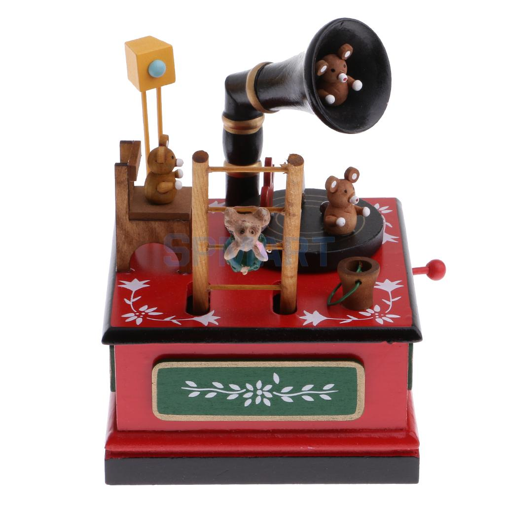 Wooden Music Box Christmas Decoration Kids Wind Up Toys Rabbit Bear on Fairyland Spin w/ musical Xmas Gifts Supplies
