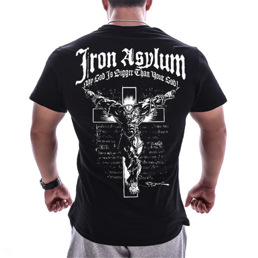 Men Gyms Fitness Bodybuilding T-shirt Summer Casual Printed Cotton Short Sleeve Black Tee Shirt Male Workout Tops Brand Apparel