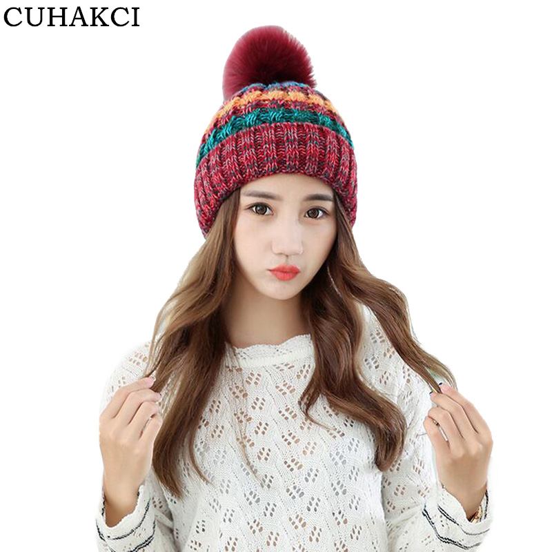CUHAKCI Winter Knitted Beanies Outdoor Hat Woolen Ski Fur Keep Warm Skullies for Women Hats Girls Clip High Quality 2017 fibonacci winter hat knitted wool beanies skullies casual outdoor ski caps high quality thick solid warm hats for women