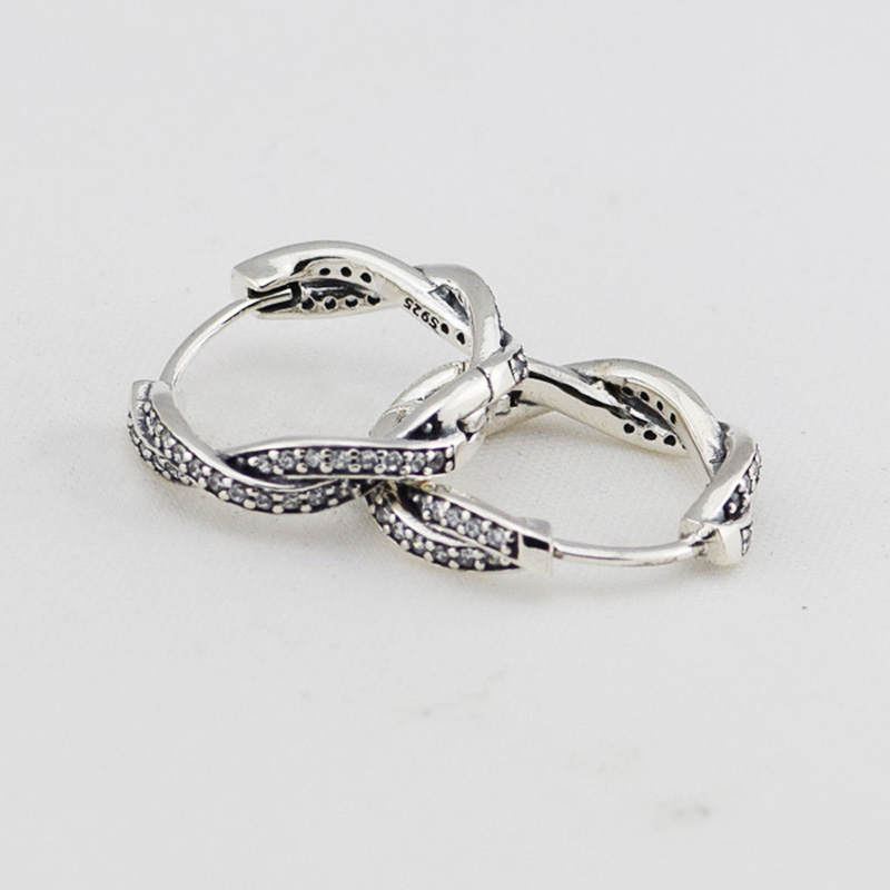 Authentic-925-Sterling-Silver-Braided-Hoop-Earring-with-CZ-Fashion-Jewelry-Earrings-For-Women-Free-Shipping (3)