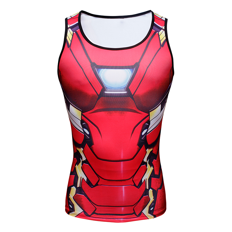 Civil war 3 iron man 3d printed superman professional vest muscle fitness mens bodybuilding tank top