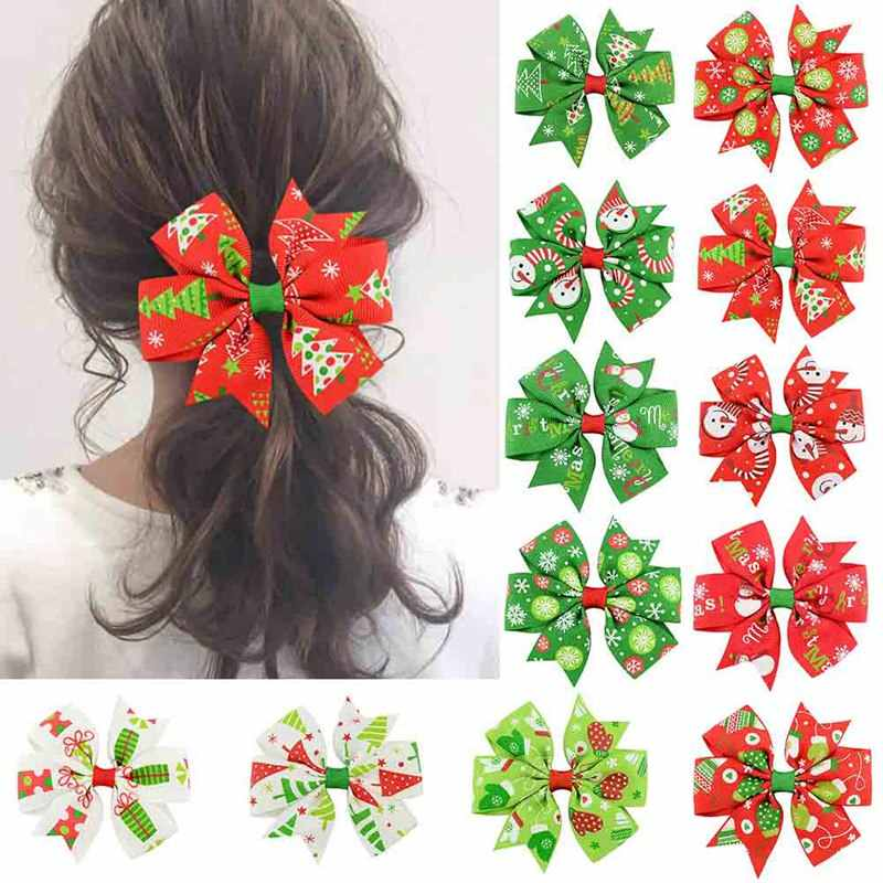 1PCS Christmas Hair Bow Clips Hair Swallowtail Bows Baby Girl Kids Hair Clips Boutique Bow Clips for Women Hair Accessories
