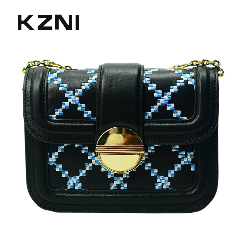 KZNI Genuine Leather Handbags Women Designer Handbags High Quality Black Chain Bag Messenger Bag Bolsa Feminina Pochette 1432 kzni genuine leather handbag women designer handbags high quality phone bag purses and handbags pochette sac a main femme 9022